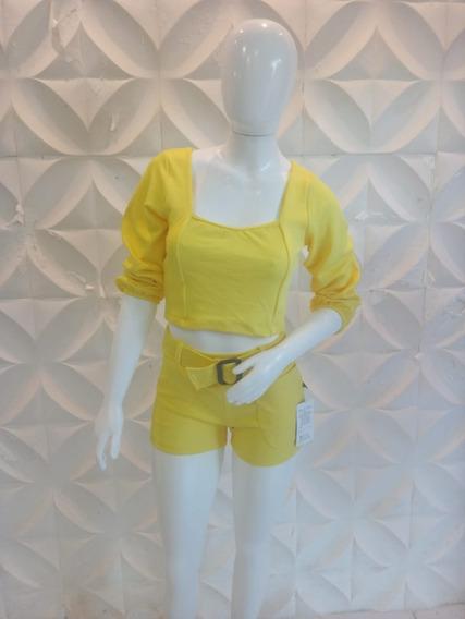 2 Conjunto Macaquinho Feminino Short Cropped Top Luxo Barato