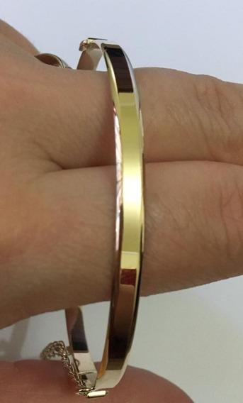 Pulseira Argola Chanfrada 8g Com Pega Ladrao Ouro 10k