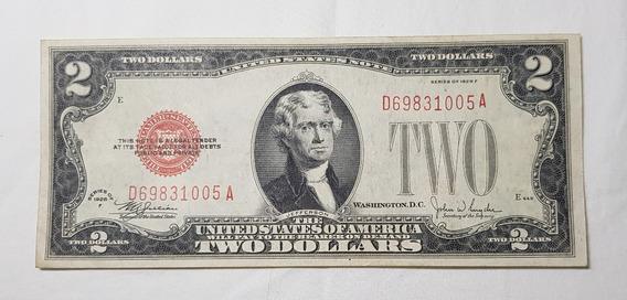 Nota De 2 Dólares 1928 F Selo Vermelho - Eua - Rara