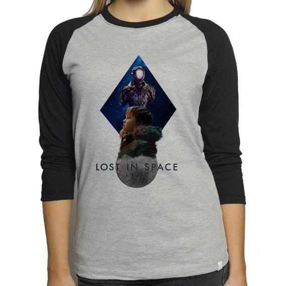 Camiseta Lost In Space V2 Raglan Mescla Babylook 3/4