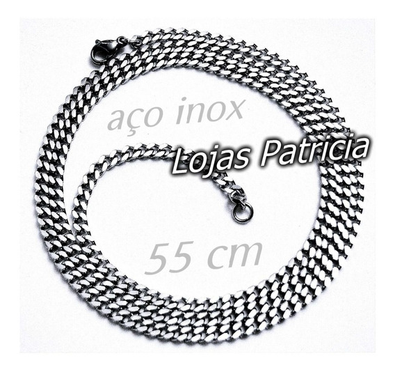 Corrente Masculina Aço Inox Maciço Prata Cordão Grumet 55 Cm