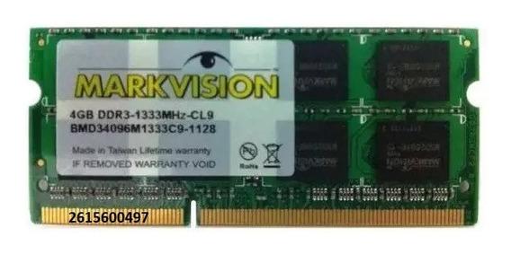 Memorias Notebook 4 Gb. Ddr 3 1333 Mhz Markvision, Nuevas!!