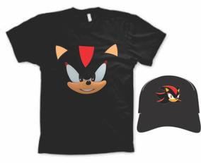 Fantasia Camiseta Sonic-shadow-the-hedgehog Cósplay C/ Boné