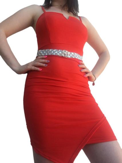 Vestido Rojo Al Cuerpo Mujer