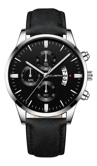 Kit 02 Relógios Masculino Caixa Aço Inoxidável Pulseira Couro