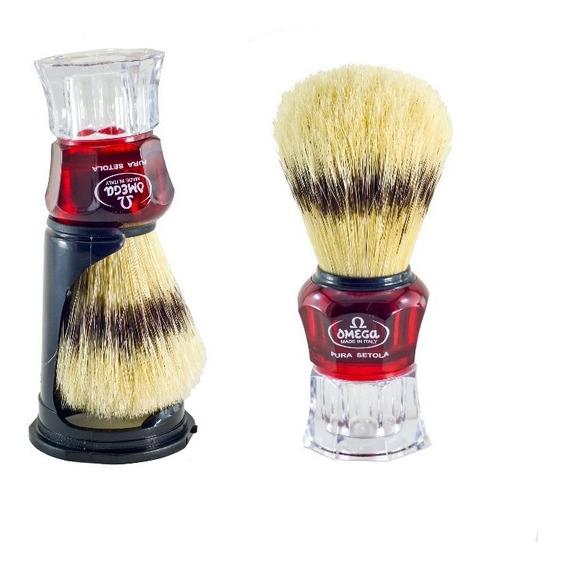 Pincel De Barba Omega Italiano Com Cerdas Naturais + Suporte + Brinde - 81052