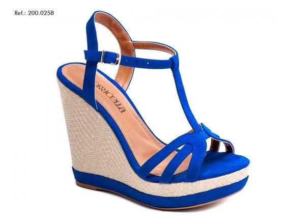 Sandália Anabela Azul