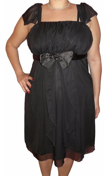 Vestido De Fiesta De Gasa Negro Talles Grandes !!!