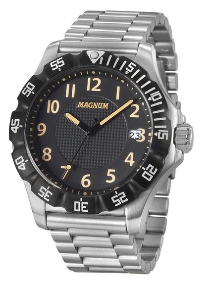 Relógio Masculino Magnum Prateado 2 Anos D Garantia Ma34110t