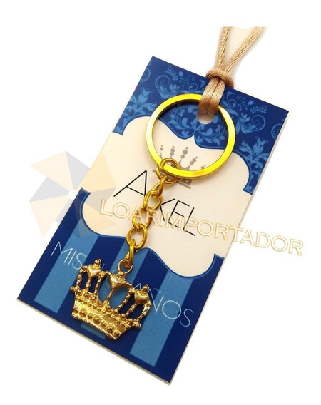 40 Tarjetas Souvenirs 15 Años Corona Llave Llavero Azul