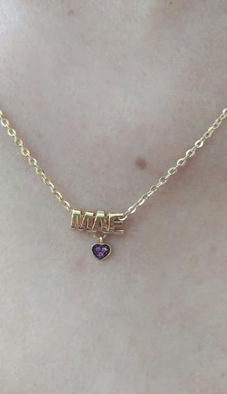 Colar De Ouro 18k Pingente Mãe Coração Com Zircônia
