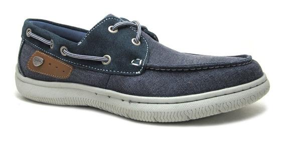 Zapato Náutico Cavatini Acordonado Lona, Hombres
