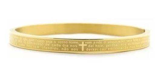 Pulseira Bracelete Pai Nosso Banhado A Ouro 18k