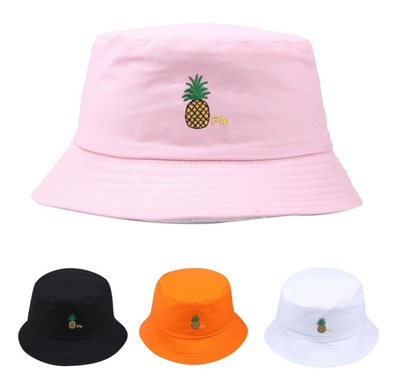 Bone Chapeu Bucket Hat Abacaxi Pineapple Laranja Nova Moda
