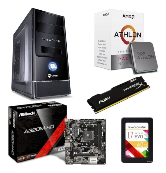 Pc Completo G1 One Athlon 200ge A320m Hd Hx 4gb Ssd 60gb