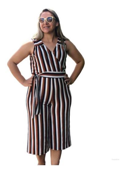 Macacão Pantacur Listras Moda Feminina Plus Size