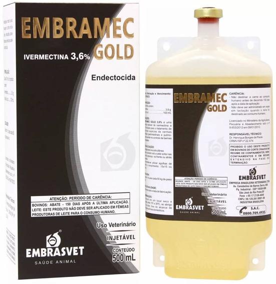 4 Frascos Embramec Gold 3,6% 500 Ml - Ivermectina Longa Ação