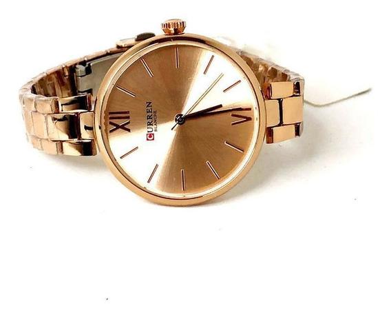Relógio Curren 9017 Quartzo Elegante Rose