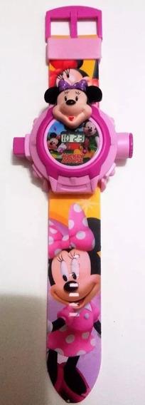 Relógio Minnie Rosa Projetor De Luz Com 24 Imagens Infantil