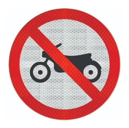 Imagem 1 de 2 de Placa Proibido Trânsito De Motos Refletivo R-37 Cm