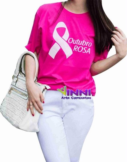 Camiseta Personalizada Estampa Feminina Outubro Rosa Algodao