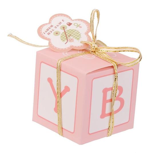 12pcs Paper Doce Sweets Dom Boxes Bebê Chuveiro Favors Rosa