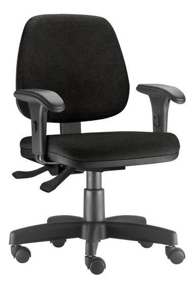 Cadeira Giratória Job Escritório Couro Sintético Preto