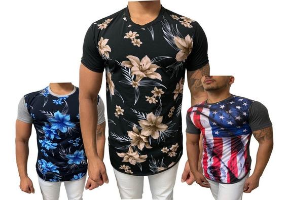 Kit 4 Camisa Masculina Long Line Oversize Estampadas Floral