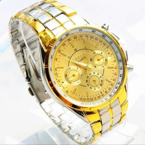 Relógio Quartz Masculino Dourado + Caixa