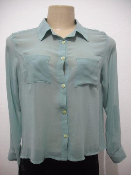 Blusa Camisete Verde Tecido Crepe Seda Tam P Usado Bom Estad