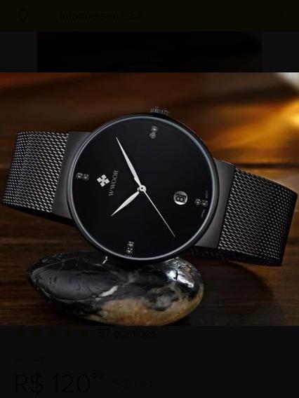 Relógio Masculino Preto Ultrafino Luxuoso Original C/caixa