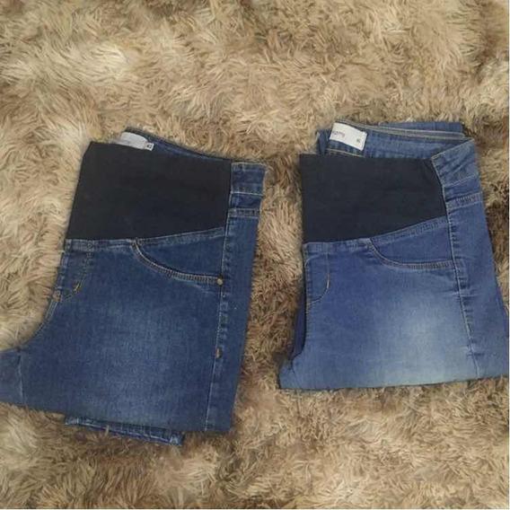 Calça Gestante Jeans Com Elastico 40/42 Confortavel Gravid