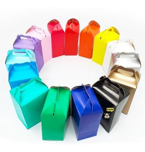 Imagen 1 de 5 de 60 Caja Dulcera Colores Bolo Recuerdo Arcoiris Color Liso