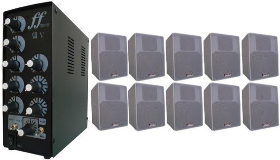 Kit 10 Caixa Branca Som Ambiente + Amplificador Setorizador