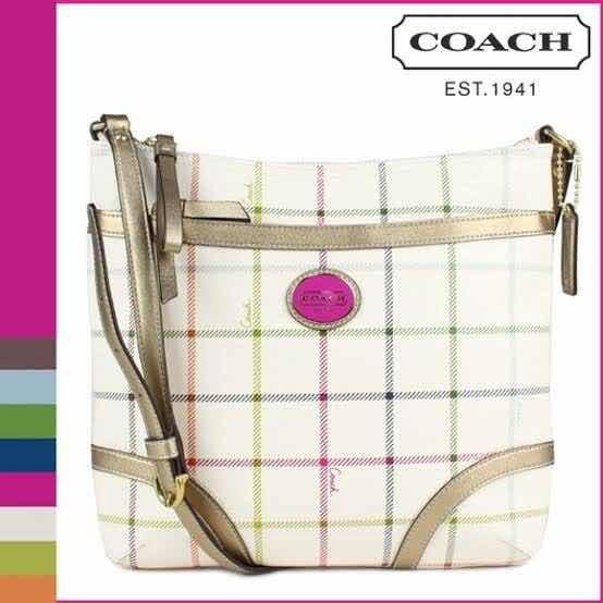 Bolsa Coach White Plaid Heritage *negociable*