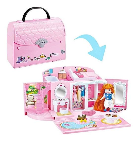 Lujosa Nueva Juguete Para Nena Casa Muñecas Cartera 2 En 1