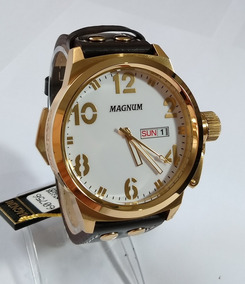 Relógio Masculino Dourado Magnum Pulseira Couro Ma32783b.