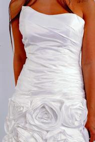 Vestido De Noiva Tafetá De Seda Pura Ajustável Aplique Flor