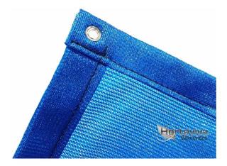 Tela Sombrite Azul 90% - 5m X 5m Com Bainha E Ilhós