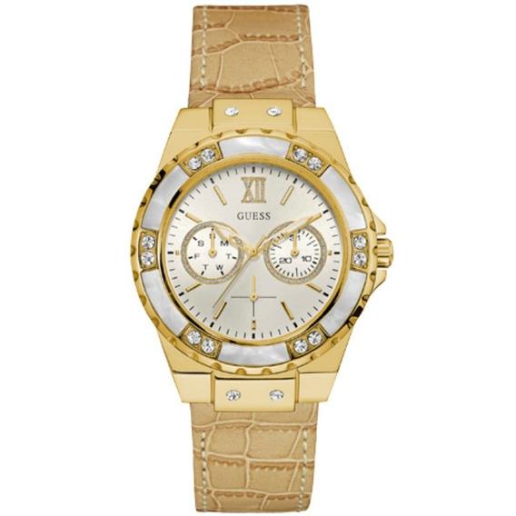Relógio Feminino Guess 92601lpgsdc2 Original Couro Brege