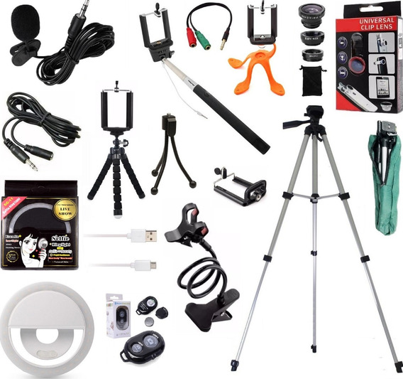 Kit Youtuber Profissional Microfone Lapela Tripé 1,30m Flash