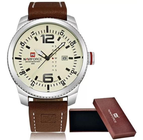 Relógio Masculino Luxuoso Quadrado Couro Original Naviforce