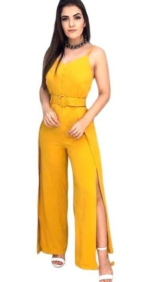 Macacão Feminino Estampado Longo Bojo Verão Moda Blogueira