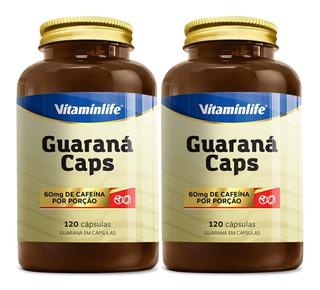 2x Guaraná Caps - 60mg Cafeína - 120 Cápsulas Cada - Vitaminlife