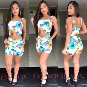 Kit10 Conjunto Short E Cropped Suplex Estampas Variadas 2019