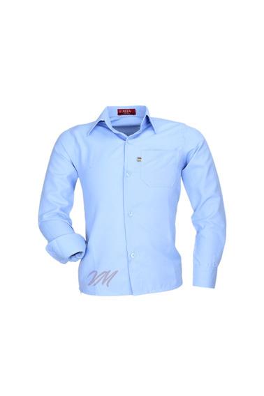Camisa Infantil Alfa Tecido Misto Não Amassa - Azul Claro -
