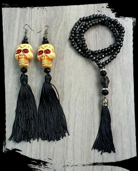 Conjunto Santa Muerte Caveira Mexicana Fantasia Halloween