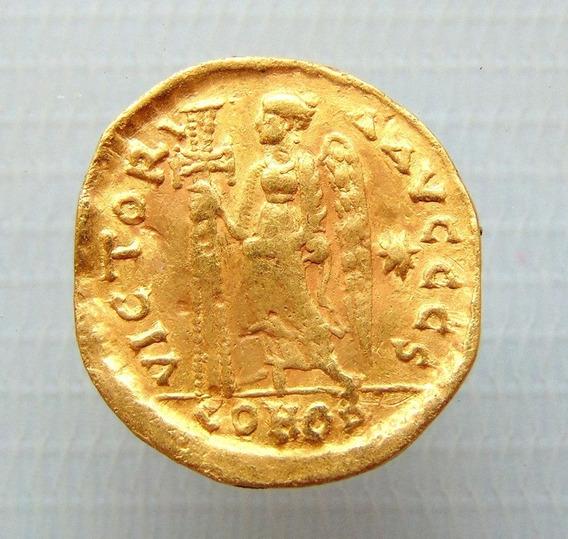 Moeda Bizantina De Anastasius I, 491-518 Dc Solidus De Ouro