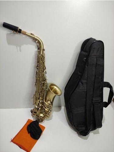 Saxofone Mib Alto Michael Escovado Dourado Estado De Novo