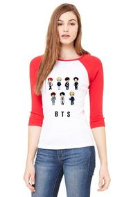 Playera 3/4 Bts, Suga, Jimin, Jungkook, Jin, Color Rojo.